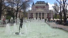 Fountain in front of the Ivan Vazov National Theatre in Sofia Bulgaria Stock Footage