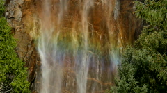Yosemite Bridalveil Fall 96fps 05 Rainbow  Slow Motion Waterfalls - stock footage