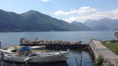 Fishing boat in the Bay of Kotor Montenegro Stock Footage