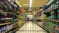 Shopping Cart Traveling Through A Grocery Store - stock footage