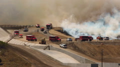 Wildfire in Southern California - Firefighters Arriving Stock Footage