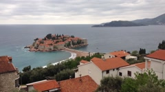 Sveti Stefan, Aman Sveti Stefan is a small islet and hotel resort in Montenegro Stock Footage