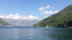 Sailboat in the bay of Kotor Croatia Stock Footage