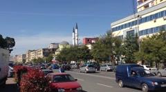 Downtown traffic in Shkodër Albania Stock Footage