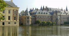 The Binnenhof Hague Netherlands historic architecture parliament building        Stock Footage
