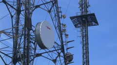 Communication tower broadcasting telecommunication wireless antena microwaves 4k Stock Footage