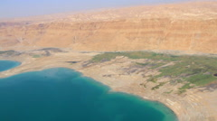 Aerial of Dead Sea, Shore and Hills, ISRAEL Stock Footage