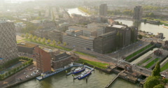 Aerial view river police boat station traffic street cars Rotterdam Netherlands Stock Footage