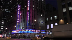 Radio City Music Hall in New York at night in 4K Stock Footage