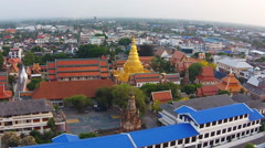 Aerial view shot lamphun city Stock Footage