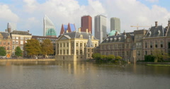 Hague Netherlands city skyline skyscrapers view parliament building architecture Stock Footage