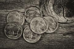 Vintage Indian Head Nickels on Wood - stock photo
