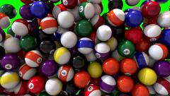 Pool billiards balls fill screen transition composite overlay Stock Footage
