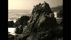 Vintage 16mm film, rocky coast and surf, 1932 Stock Footage