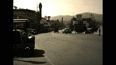 Vintage 16mm film, traffic in unknown city in California, 1932 Stock Footage