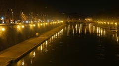 Bridge Mazzini. Night. Tiber. Rome, Italy. 1280x720 Stock Footage