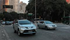 Traffic in the city. Consolacao Avenue. Sao Paulo, Brazil Stock Footage