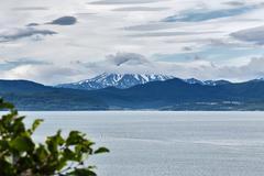 Beautiful summer Kamchatka landscape: view from city Petropavlovsk-Kamchatsky Stock Photos