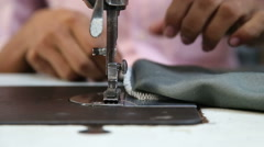 Man working on a sewing machine. Stock Footage