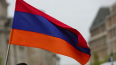 Armenian flag waving in the wind Stock Footage