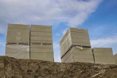Stacks of mineral rock wool board insulation Stock Photos