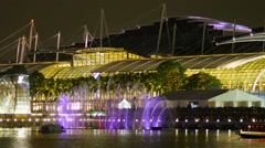 Impressive light and laser show at Marina Bay Sands, Singapore. Stock Footage