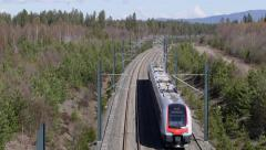 Railroad overhead view train passing Stock Footage