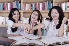 Team of student showing their unity Stock Photos