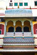 Art work balcony in City Palace. Jaipur, Rajasthan, India Stock Photos