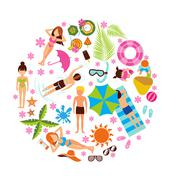 Summer holiday design set - stock illustration
