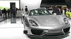 918 Spyder rotating from Porsche super car in automobile exhibition Stock Footage
