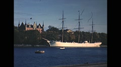 Vintage 16mm film, Stockholm, AF Chapman, a square-rigged tall-ship Stock Footage