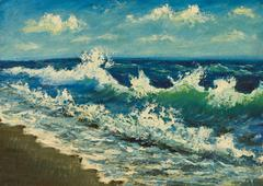 Oil painting of sea beach, beautiful waves on canvas.Seashore. Stock Illustration