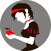Snow White and the apple - stock illustration