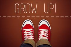 Grow Up Reminder for Young Person, Top View - stock photo