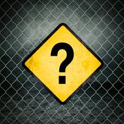 Question Mark Grunge Yellow Warning Sign on Chainlink Fence Stock Photos