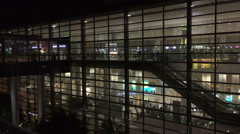 Terminal Ben Gurion From Outside At Night Stock Footage