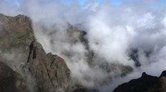 4k Clouds time-lapse mountain valley Pico do Arieiro Madeira Stock Footage