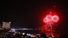 Time Lapse Firework Festival Over Pattaya City Beach Of Thailand (miniature) Stock Footage