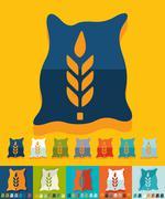 Stock Illustration of Flat design. bag of grain