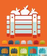 Flat design. wooden crate vegetables Stock Illustration