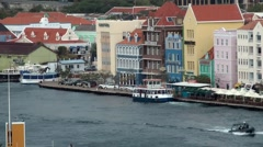 Curacao Willemstad 063 pedestrian ferry is leaving the berth at Punda downtown Stock Footage