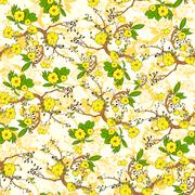 Stock Illustration of Tree Branch with Yellow Flowers Abstract Nature Plants Pattern