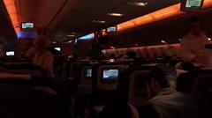 Dark airplane interior during night flight - stock footage