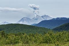 Landscape of Kamchatka: eruption active Zhupanovsky Volcano Stock Photos