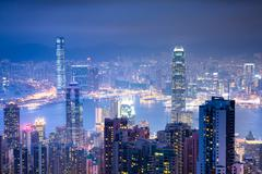 Magnificent view from Victoria Peak at night Stock Photos