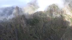 4k Rocky mountain valley Pico do Arieiro in Madeira dolly Stock Footage