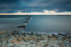 Long exposure seascape with moutch of Vistula river Stock Photos