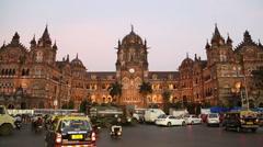 View on Chhatrapati Shivaji Terminus, train terminal in Mumbai at sunset. Stock Footage
