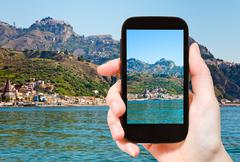 picture of Taormina - popular tourist resort - stock photo